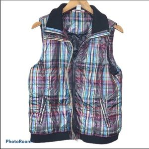 Christopher And Banks Plaid Down Vest Large